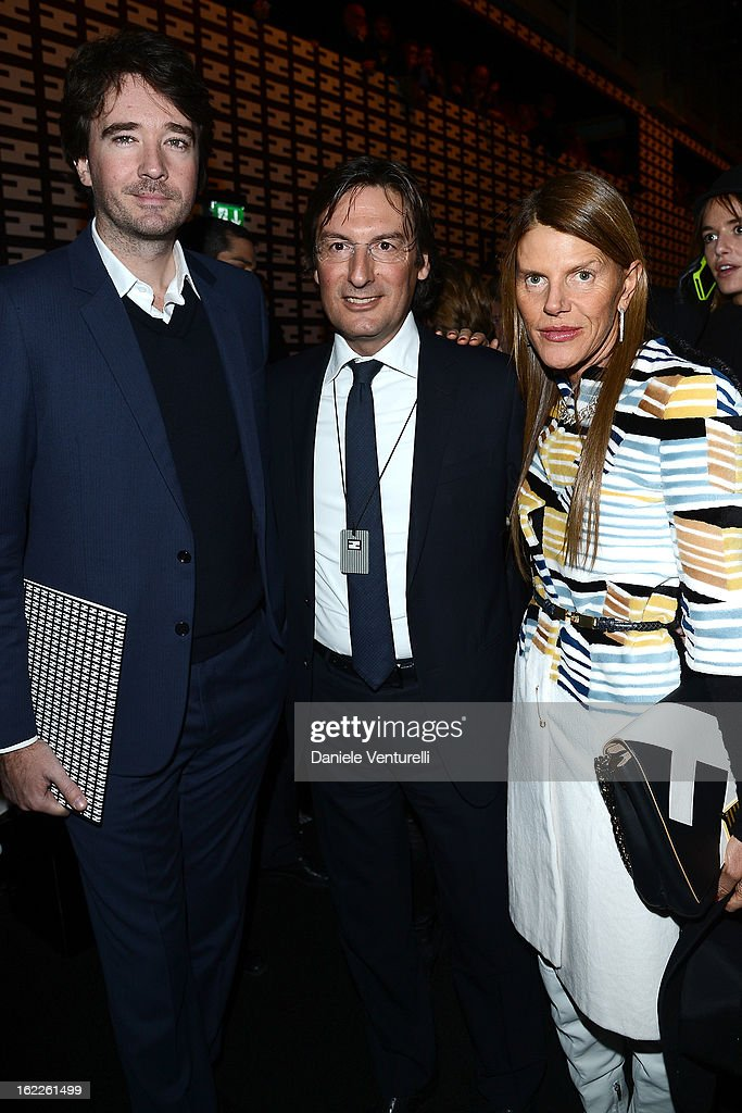 Antoine Arnault, Pietro Beccari and Anna Dello Russo attend the Fendi fashion show as part of Milan Fashion Week Womenswear Fall/Winter 2013/14 on February 21, 2013 in Milan, Italy.