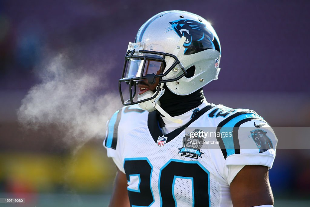 <a gi-track='captionPersonalityLinkClicked' href=/galleries/search?phrase=Antoine+Cason&family=editorial&specificpeople=2803078 ng-click='$event.stopPropagation()'>Antoine Cason</a> #20 of the Carolina Panthers takes the field pre-game against the Minnesota Vikings on November 30, 2014 at TCF Bank Stadium in Minneapolis, Minnesota.