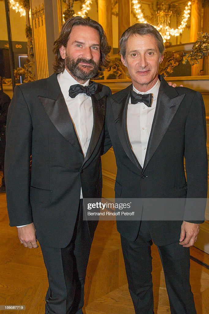 Antoine de Caunes (R) and Frederic Beigbeder attend the GQ Men of the year awards 2012 at Musee d'Orsay on January 16, 2013 in Paris, France.