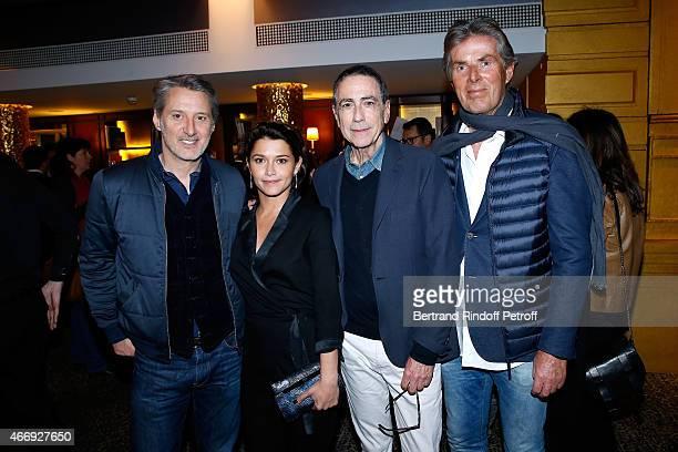 Antoine de Caunes his daughter actress Emma de Caunes singer Alain Chamfort and CEO of Lucien Barriere Group Dominique Desseigne attend the Cocktail...