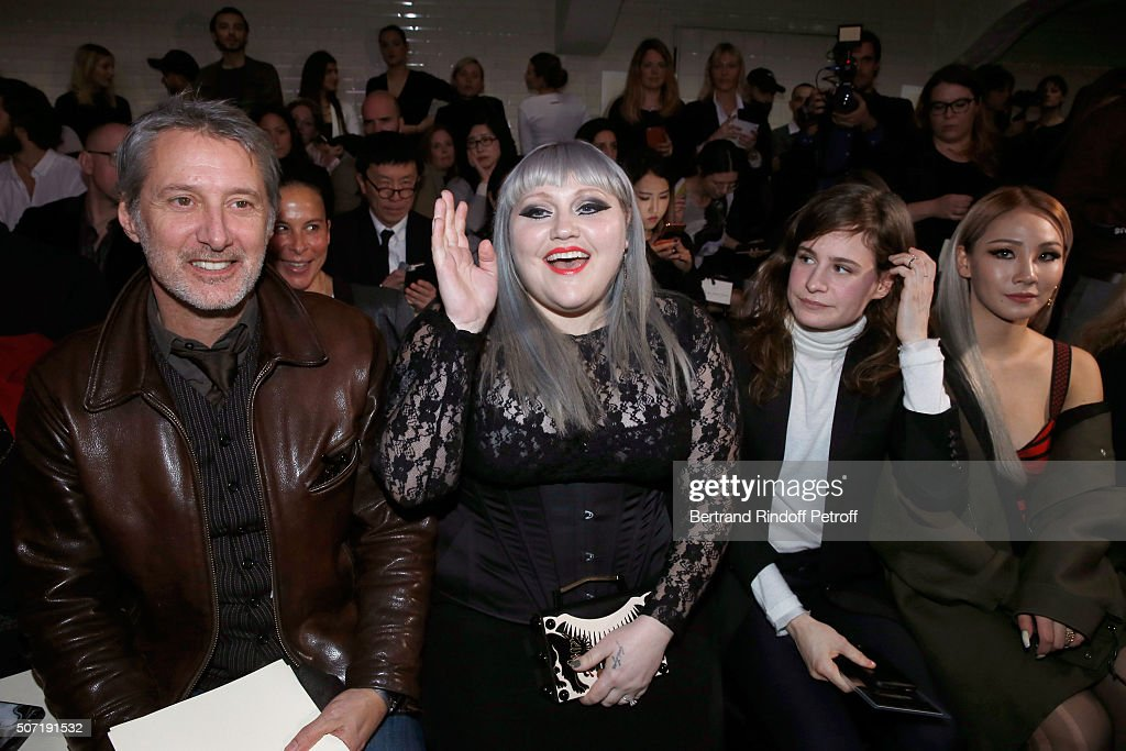 Antoine de Caunes, Singer <a gi-track='captionPersonalityLinkClicked' href=/galleries/search?phrase=Beth+Ditto&family=editorial&specificpeople=680282 ng-click='$event.stopPropagation()'>Beth Ditto</a>, Singer Eloise Letissier, alias 'Christine and the Queens' and Znei attend the Jean Paul Gaultier Spring Summer 2016 show as part of Paris Fashion Week on January 27, 2016 in Paris, France.