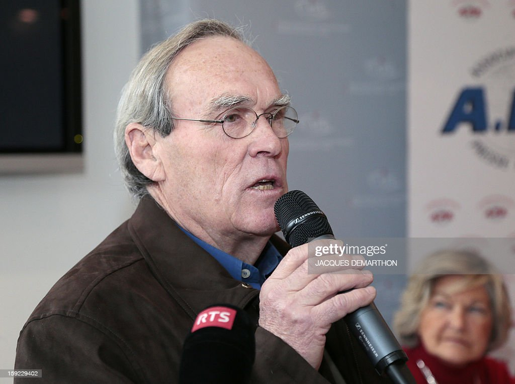 Antoine Dufoix, former minister Georgina Dufoix's husband, speaks on January 10, 2013 in Paris to denounce 'threats' against his wife, whose participation at a conference against gay marriage was cancelled.