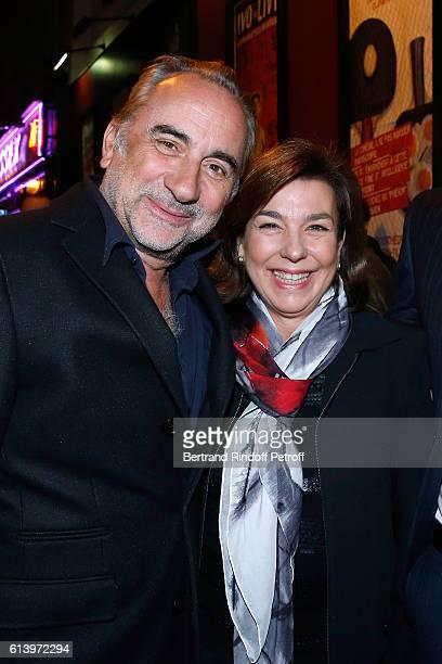 Antoine Dulery and Carole Amiel attend the 'Ivo Livi ou le destin d'Yves Montand' Theater Play at Theatre de la Gaite Montparnasse on October 11 2016...