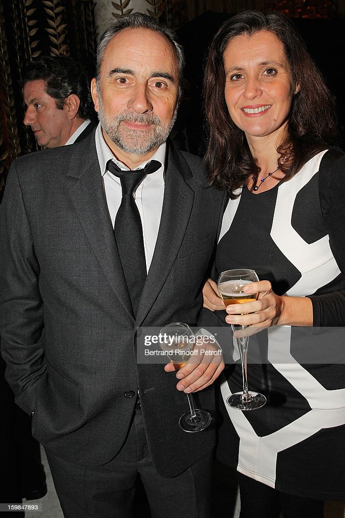 Antoine Dulery (L) and his wife Pascale Pouzadoux attend 'La Petite Maison De Nicole' Inauguration Cocktail at Hotel Fouquet's Barriere on January 21, 2013 in Paris, France.