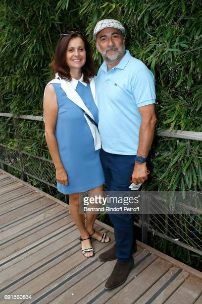 Antoine Dulery and his wife Pascale Pouzadoux attend the 2017 French Tennis Open Day Six at Roland Garros at Roland Garros on June 2 2017 in Paris...