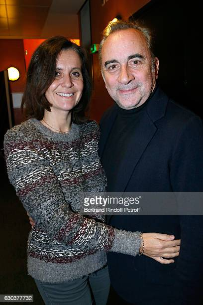 Antoine Dulery and his wife Pascale Pouzadoux pose Backstage after the triumph of the 'Dany De Boon Des HautsDeFrance' Show at L'Olympia on December...