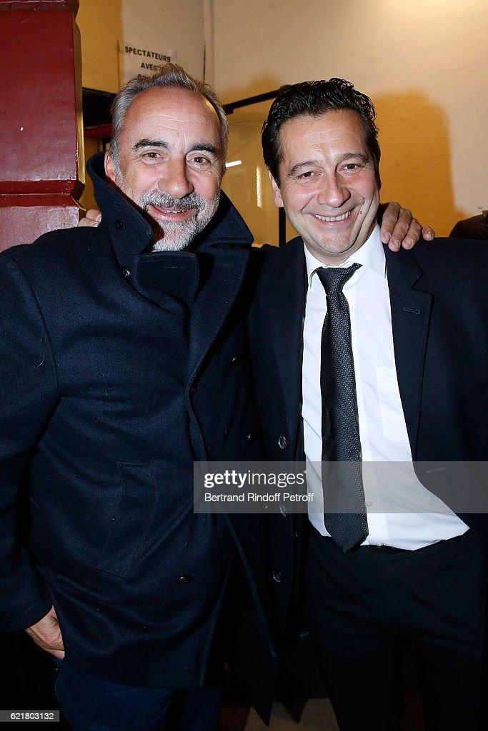 Antoine Dulery and Laurent Gerra attend Louis-Michel Colla, the Director of the 'Theatre de la Gaite Montparnasse', Celebrates his 60th Anniversary at Theatre de la Gaite Montparnasse on November 8, 2016 in Paris, France.