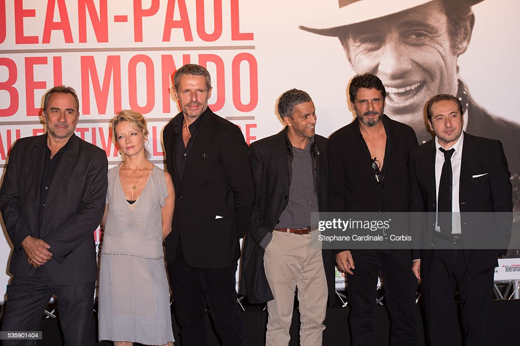 Antoine Dulery, Laure Marsac, Lambert Wilson, Sami Bouajila, Pascal Elbe and Patrick Timsit attend the Tribute to Jean Paul Belmondo and Opening Ceremony of the Fifth Lumiere Film Festival, in Lyon.