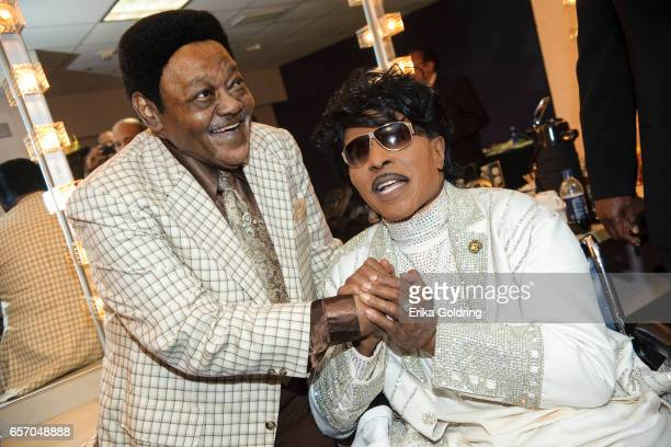 Antoine 'Fats' Domino and Little Richard backstage at The Domino Effect concert at the New Orleans Arena on May 30 2009 in New Orleans Louisiana