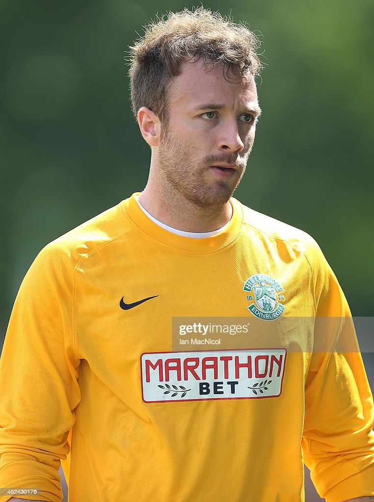 Antoine Gounet of Hibernian looks on during the Pre Season Friendly match between Stirling Albion and Hibernian at Forthbank Stadium on July 20, 2014 in Stirling, Scotland.
