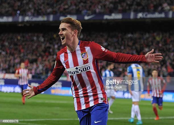 Antoine Greizmann of Club Atletico de Madrid celebrates after scoring his team's opening goal during the La Liga match between Club Atletico de...