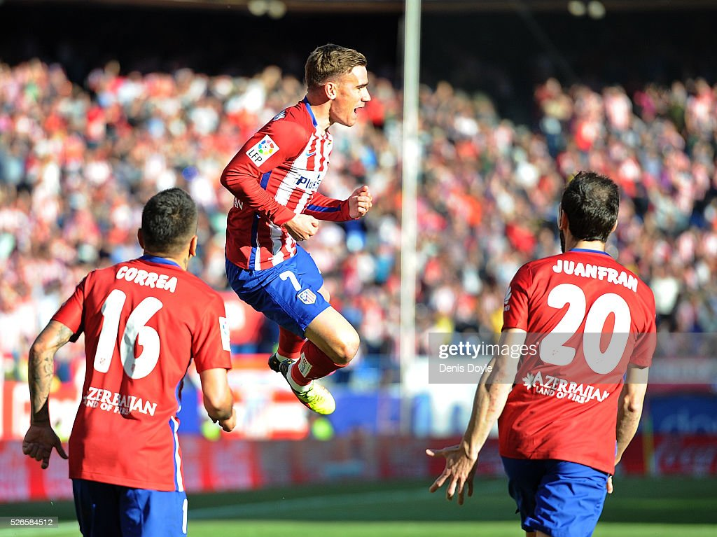 Antoine Greizmann of Club Atletico de Madrid celebrates scoring his team's opening goal during the La Liga match between Club Atletico de Madrid and Rayo Vallecano at Vicente Calderon Stadium on April 30, 2016 in Madrid, Spain.