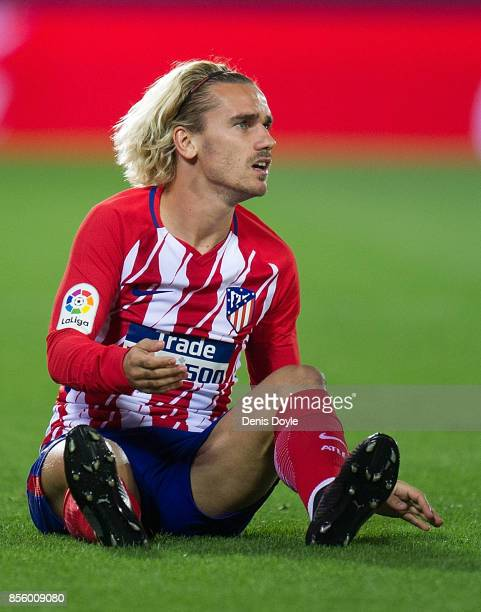 Antoine Greizmann of Club Atletico de Madrid reacts after being fouled during the La Liga match between Leganes and Atletico Madrid at Estadio...
