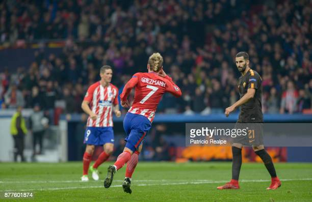 Antoine Griezman of Atletico of Atletico Madrid celebrates after scoring the first goal of his team during a match between Atletico Madrid and AS...