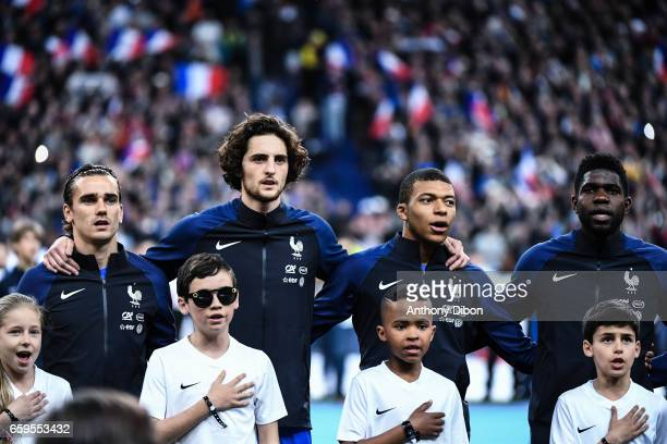 Antoine Griezmann Adrien Rabiot Kylian Mbappe and Samuel Umtiti of France during the friendly match France and Spain at Stade de France on March 28...