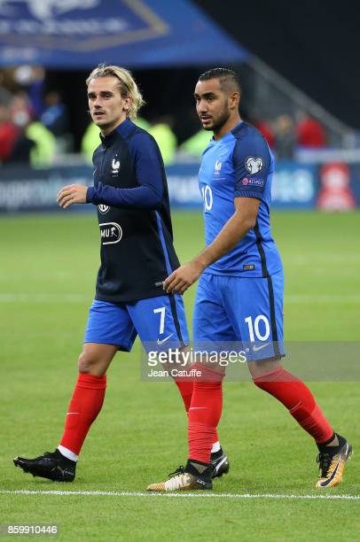 Antoine Griezmann and Dimitri Payet of France celebrate the qualification for Russia 2018 following the FIFA 2018 World Cup Qualifier between France...