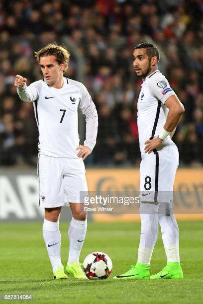Antoine Griezmann and Dimitri Payet of France during the FIFA World Cup 2018 qualifying match between Luxembourg and France on March 25 2017 in...