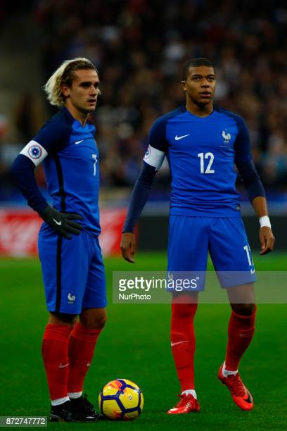 Antoine Griezmann and Kylian Mbappe of France during the friendly football match between France and Wales at the Stade de France stadium in...