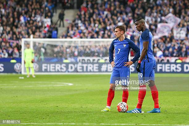 Antoine Griezmann and Paul Pogba of France are talking before shooting a free kick during the international friendly game between France and Russia...