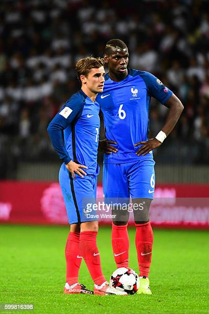 Antoine Griezmann and Paul Pogba of France during the 2018 FIFA World Cup qualifying match between Belarus and France at Borisov Arena on September 6...