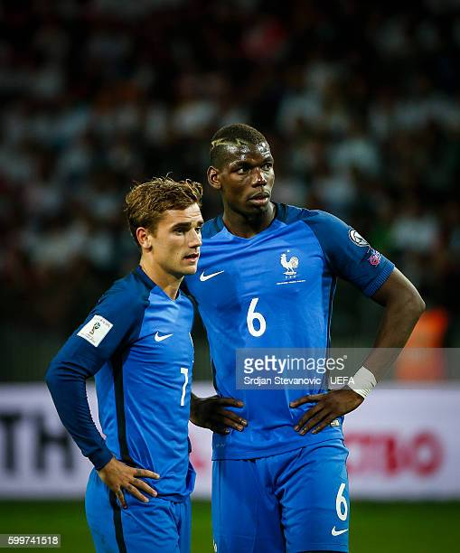 Antoine Griezmann and Paul Pogba of France look on during the 2018 FIFA World Cup Qualifier Group A match between Belarus and France at Borisov Arena...