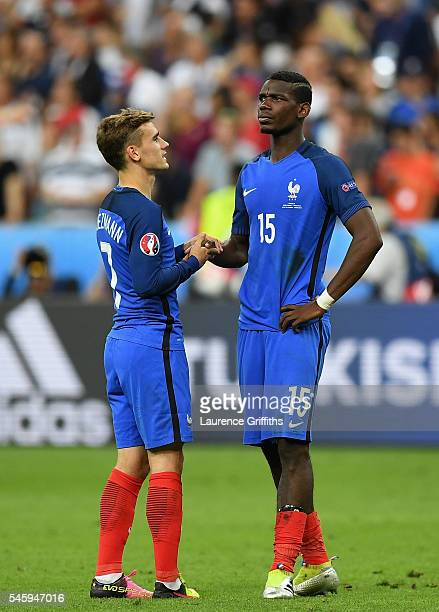 Antoine Griezmann and Paul Pogba of France shows their dejection after their team's 01 defeat in the UEFA EURO 2016 Final match between Portugal and...
