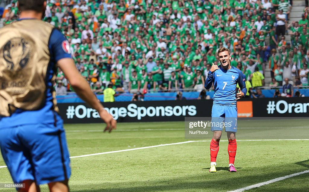Antoine Griezmann (FRA), celebration, goal, during the UEFA EURO 2016 round of 16 match between France and Republic of Ireland at Stade des Lumieres on June 26, 2016 in Lyon, France.