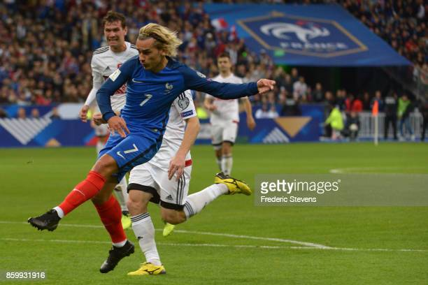 Antoine Griezmann forward of France Football team score during the FIFA 2018 World Cup Qualifier between France and Belarus at Stade de France on...