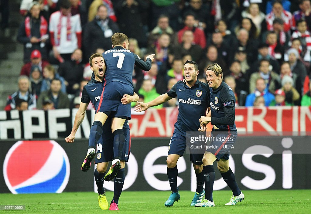 Antoine Griezmann of Athletico celebrates scoring his goal during the UEFA Champions League Semi Final second leg match between FC Bayern Muenchen and Club Atletico de Madrid at the Allianz Arena on May 03, 2016 in Munich, Bavaria.