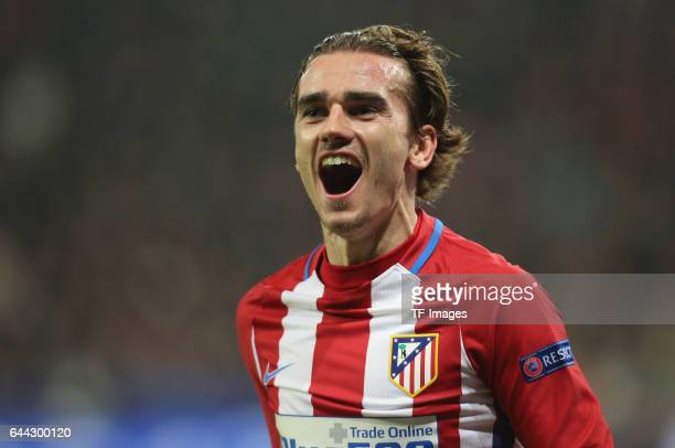 Antoine Griezmann of Atletico celebrates after he scores the 2nd goal during the UEFA Champions League Round of 16 first leg match between Bayer...