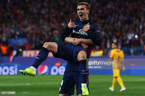 Antoine Griezmann of Atletico celebrates his team's first goal with team mate Gabi during the UEFA Champions league Quarter Final Second Leg match...