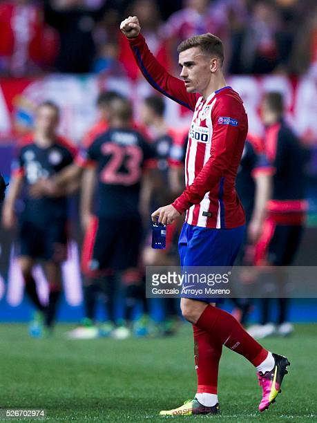 Antoine Griezmann of Atletico de Madrid celebrates after the UEFA Champions League Semi Final first leg match between Club Atletico de Madrid and FC...