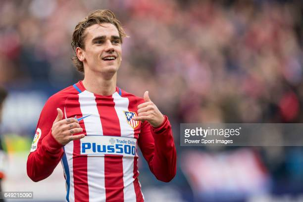Antoine Griezmann of Atletico de Madrid celebrates during the match Atletico de Madrid vs Valencia CF a La Liga match at the Estadio Vicente Calderon...