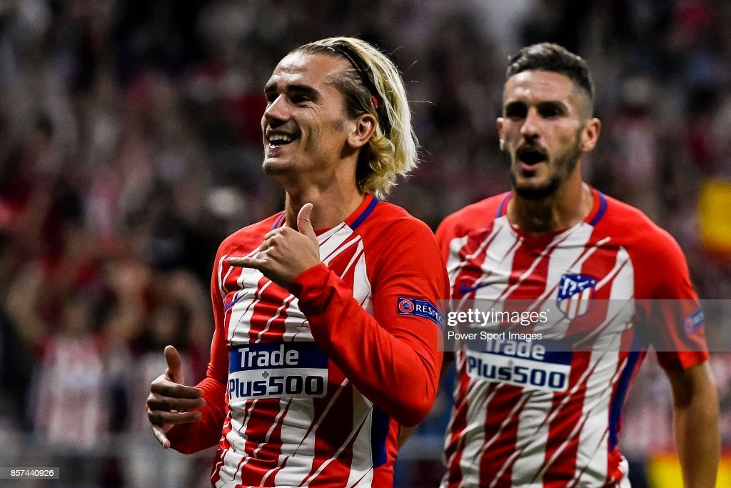 Antoine Griezmann of Atletico de Madrid celebrates during the UEFA Champions League 2017-18 match between Atletico de Madrid and Chelsea FC at the Wanda Metropolitano on 27 September 2017, in Madrid, Spain.