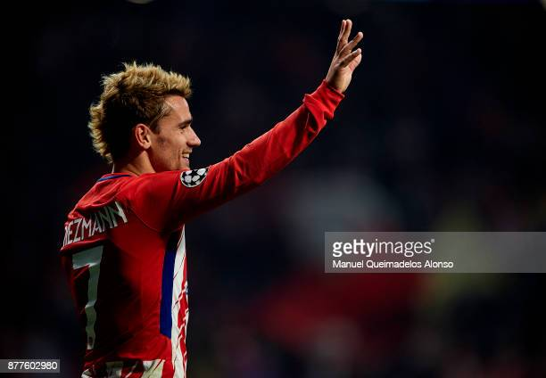Antoine Griezmann of Atletico de Madrid celebrates scoring his team's first goal during the UEFA Champions League group C match between Atletico...