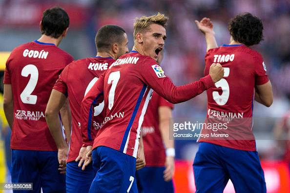 Antoine Griezmann of Atletico de Madrid celebrates scoring their opening goal during the La Liga match between Club Atletico de Madrid and UD Las...