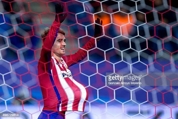 Antoine Griezmann of Atletico de Madrid celebrates scoring their second goal during the UEFA Champions League Group C match between Club Atletico de...