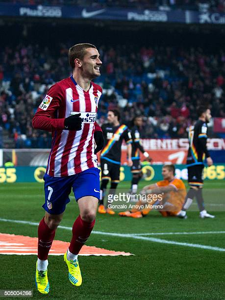 Antoine Griezmann of Atletico de Madrid celebrates scoring their second goal during the Copa del Rey Round of 16 second leg match between Club...