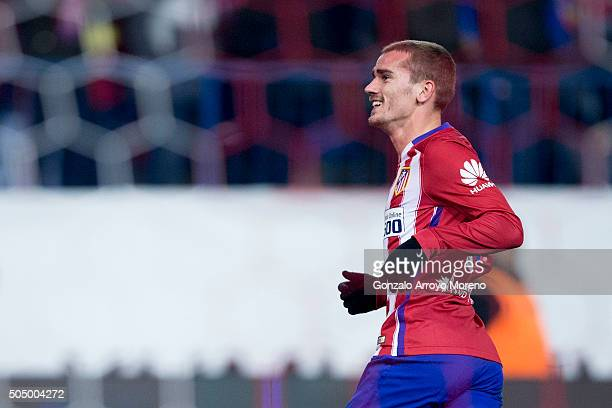 Antoine Griezmann of Atletico de Madrid celebrates scoring their third goal during the Copa del Rey Round of 16 second leg match between Club...