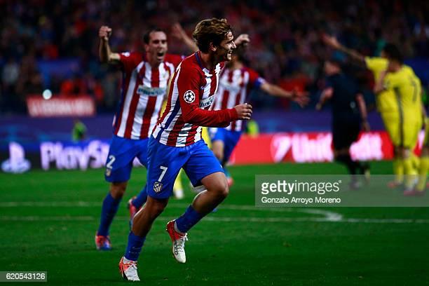 Antoine Griezmann of Atletico de Madrid celebrates scoring their second goal during the UEFA Champions League Group D match between Club Atletico de...