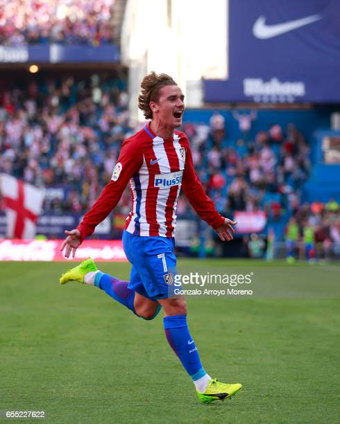 Antoine Griezmann of Atletico de Madrid celebrates scoring their second goal during the La Liga match between Club Atletico de Madrid and Sevilla FC...