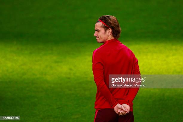 Antoine Griezmann of Atletico de Madrid gestures during a training session ahead of the UEFA Champions League Semifinal First leg match between Real...