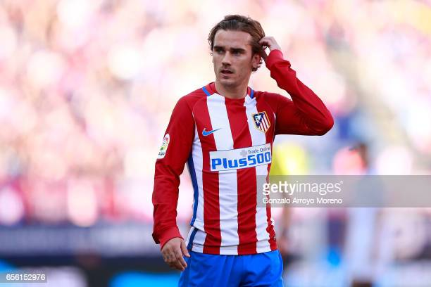 Antoine Griezmann of Atletico de Madrid gestures during the La Liga match between Club Atletico de Madrid and Sevilla FC at Vicente Calderon stadium...