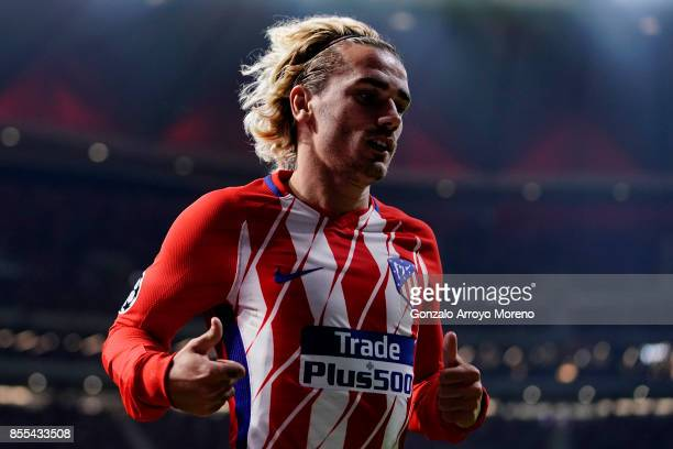 Antoine Griezmann of Atletico de Madrid in action during the UEFA Champions League group C match between Atletico Madrid and Chelsea FC at Vicente...