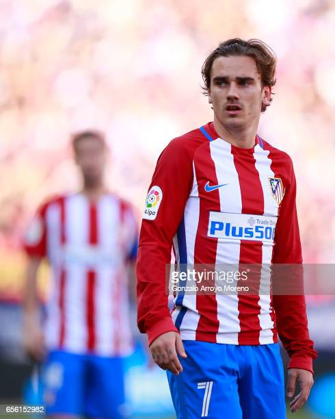 Antoine Griezmann of Atletico de Madrid looks on during the La Liga match between Club Atletico de Madrid and Sevilla FC at Vicente Calderon stadium...