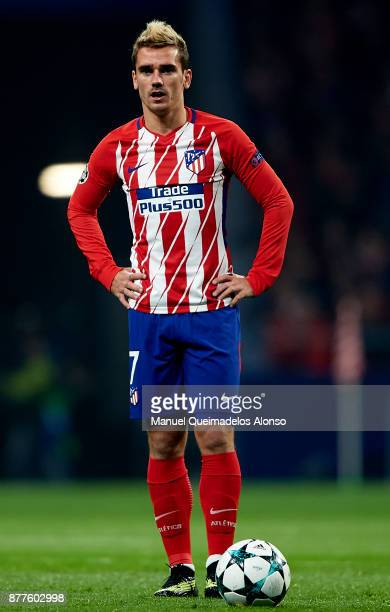 Antoine Griezmann of Atletico de Madrid looks on during the UEFA Champions League group C match between Atletico Madrid and AS Roma at Estadio Wanda...