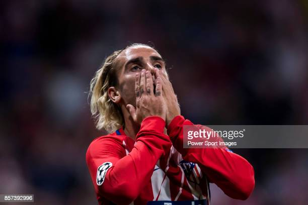 Antoine Griezmann of Atletico de Madrid reacts after his shot was saved by goalkeeper Thibaut Courtois of Chelsea FC during the UEFA Champions League...