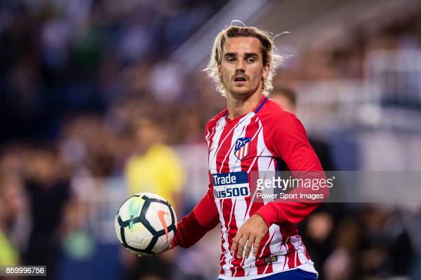 Antoine Griezmann of Atletico de Madrid reacts during the La Liga 201718 match between CD Leganes and Atletico de Madrid on 30 September 2017 in...
