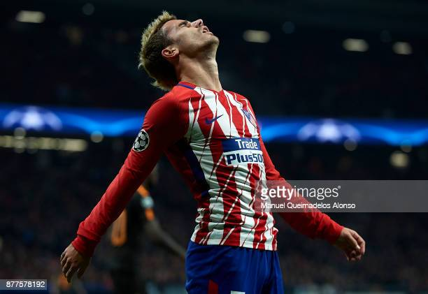 Antoine Griezmann of Atletico de Madrid reacts during the UEFA Champions League group C match between Atletico Madrid and AS Roma at Estadio Wanda...