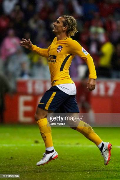 Antoine Griezmann of Atletico de Madrid runs during a friendly match between Toluca and Atletico de Madrid as part of the 100th anniversary of Toluca...